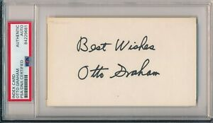 Otto Graham Cleveland Browns HOF 1965 Signed 3x5 Index Card ~ PSA/DNA Auth Slab
