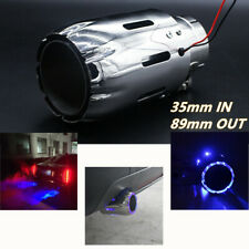 1*Straight Pipe Exhaust Tip 35MM IN-89MM OUT Muffler w/ Blue LED Light Spit Fire