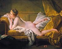 Resting Maiden by French François Boucher. Fine Art Repro Choose Canvas or Paper