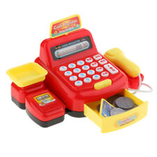 Kids Toy Supermarket Till Cash Register Shop Trolley Accs Play Red