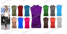 Ladies Plain Polo Neck Womens Sleeveless Stretch Turtle Jersey Basics Top UK8-26