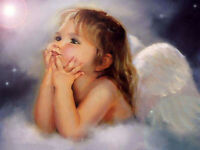Dream-art Oil painting portrait nice little girl angel on cloud hand painted art