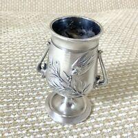 Ancien Christofle Cure-Dents Support Vase Urne Art Nouveau Japonais Birds Fleur