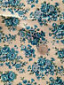 """Fabric Cotton Yellow Blue Rose Flower Floral Shabby Chic Calico Quilt 43"""" x 31"""""""
