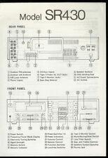 Rare Orig Marantz SR 430 AM FM Receiver Front/Rear Panel ID Specs Block Diagram