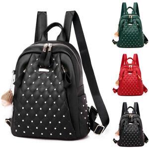 Ladies Backpack Large Capacity Rivet Rucksack Outdoor Travel School Bags Satchel
