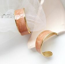 Gold Plated Earrings ENAMEL PEACH by Patricia Adelson EXCLUSIVE DESIGN.