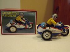 Vintage Schylling Motorcycle & Sidecar Wind-Up Tin Toy With Box