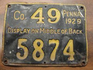 1929 Pennsylvania Resident Metal Hunting License #5874 County No. 49
