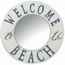 White and Blue Nautical Round 'Welcome to the Beach' Mirror, seaside