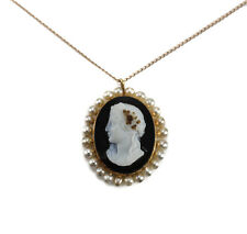 14k Yellow Gold Agate on Onyx Hardstone Cultured Pearl Cameo Pendant Necklace