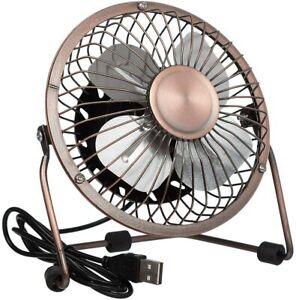 6-Inch USB Tilting Desktop Cooling Fan Metal Shell & Aluminium Blades Antique