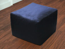 """Indian Handmade 16"""" Square Pouffe Cover Vintage Footstool Ottoman Plain Fabric"""