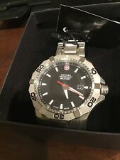 WENGER Swiss Military MEN'S STEEL BRACELET  QUARTZ BLACK DIAL WATCH 01.1241 20