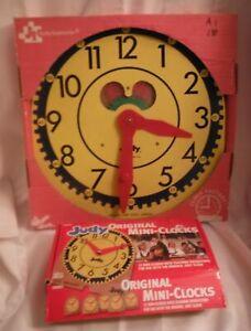Large Original Vintage JUDY CLOCK Judy/Instructo Teaching Clock + 12 mini clocks