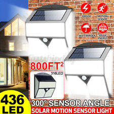 Super 436 LED Solar Powered Lights Outdoor Wall Security Bright Garden PIR Lamp