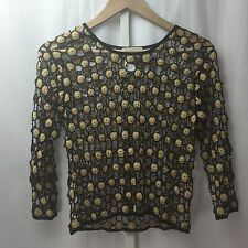 Amazing Cache Knit Black and Gold Beaded Top 3/4 Sleeve SZ S