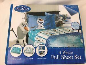 Disney Frozen Olaf Full Comfortable Bedding Sheet Set Blue Microfiber New