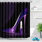 "72X72"" Purple High Heel Lipstic Shower Curtain Liner Waterproof Bathroom Hooks"