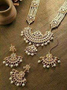 Inddia Kundan Long Pearl Mala Jewelry Pearl Necklace Set Rani Haar Earring Tikka