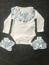 Baby Girl Romany Bambi Outfit In Blue, Skirt, Vest & Frilly Socks 12-18 Months
