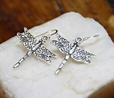 Dragonfly 925 sterling silver earrings charm wing bug insect pewter 1 pair Hook