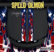 American Flag Flames Racing Stripes Rally Stripe Hood Stripe Decals Set of 2