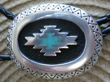 AZTEC DESIGN  BELT BUCKLE  TURQUOISE CHIP  INLAY  LEAD FREE PEWTER  3 X 2 1/2