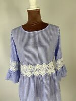 CARTOON 3/4 Sleeve Elegant Casual Lace STRIPED Blouse Shirt Top Boho SIZE 12