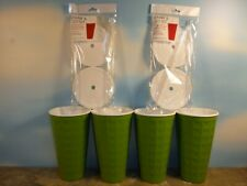 4 GREEN DOUBLEWALL INSULATED PARTY CUPS w/LIDS & STRAWS *NEW*