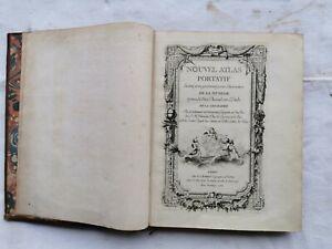 Livre NOUVEL ATLAS PORTATIF 1762 Robert de VAUGONDY 52 Cartes Couleur Rare Book