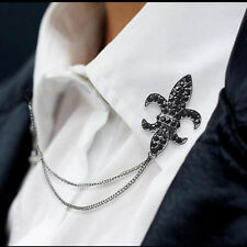 Crystal Chain Tassels Suit Brooch Lapel Pin Neck Collar Tip Mens Accessories F