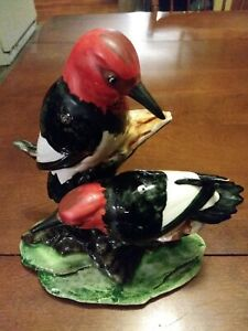 "TWO STANGL WOODPECKERS #3752 FIGURINE, APPROX. 8"" TALL, 1953"