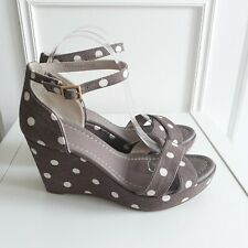 BODEN Taupe Grey Spotted Polka dot high wedge heel rockabilly sandals Sz 6 / 39