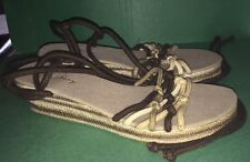 Sandals Old Navy Brown Khaki Ankle Lace Up Women's Size 7 New
