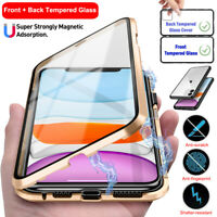 For iPhone 11 Pro Max 360° Metal Magnetic Front + Back Tempered Glass Case Cover