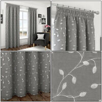 """Grey Silver Leaf Embroidered Voile Lined 3"""" Tape Top Pencil Pleat Curtains Pair"""