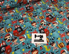 50cm vibrant fun PIRATE jolly roger print cotton lycra 4 way stretch knit fabric