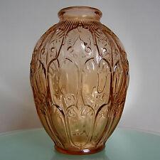 """LUXVAL VASE """" GIROFLA"""" rosaline VAL ST LAMBERT ART DECO 1935 BELGIAN GLASS"""
