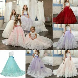 Feeshow Baby M/ädchen R/üschen Blumen Kleid Hochzeit Brautjungfern Geburtstag Party Kleid Taufe Kleid