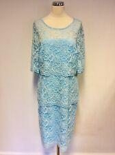 BNWT GINA BACCONI AQUA BLUE TIERED LACE DRESS SIZE 18 RRP £199