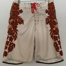 Men's Billabong Brown Boardshorts Size 30 Floral Sides Sz 31