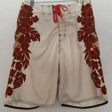 Men's Billabong Brown Boardshorts Size 30 Floral Sides Sz 31