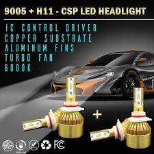 9005 + H11 PHILIPS CSP LED Headlight Bulb Conversion Kit 6000K White Hi-Lo Beam