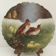 Antique  Limoges France B&H Game Birds Charger Quails Artist Signed  D 13.5""
