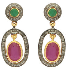 Antique Victorian Silver Dangler Earring 2.30cts Rose Cut Diamond Ruby Emerald