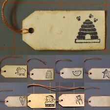 """Primitive Stamped Hang Tags ~ Lot Of 10 ~ Handcrafted """"Grungy"""" Tags ~ You Pick"""