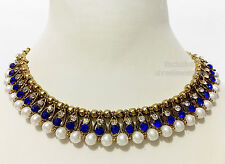 Antique Gold Plated Diamonds Stones Kundan Party Necklace Earrings Jewellery Set