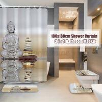 4PCS/Set Buddha Stein Duschvorhang Wasserfest Bad Toilette Sitzbezug Badematte