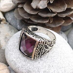 Handmade Violet Zircon Stone 925 Sterling Silver Men's Woman's Ring Q12